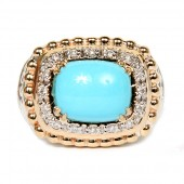 Vahan Sterling Silver and 14K Yellow Gold Turquoise and Diamond Ring