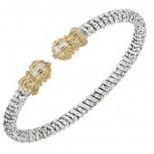 Vahan Sterling Silver and 14K Yellow Gold Diamond Cuff Bracelet (4mm)