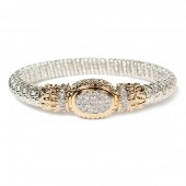 Vahan Sterling Silver and 14K Yellow Gold Pave Diamond Oval Bangle Bracelet (8mm)