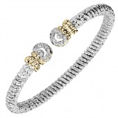 6mm Vahan 14K Yellow Gold And Sterling Silver Cuff Bracelet With Round Diamond Ends