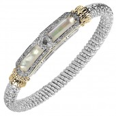 Vahan Sterling Silver and 14K Yellow Gold Diamond and Mother of Pearl Bangle Bracelet (6mm)