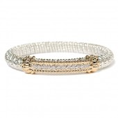 Vahan Sterling Silver and 14K Yellow Gold Diamond Bar Bangle Bracelet (8mm)
