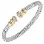 Vahan 14K Yellow Gold and Sterling Silver Open Cuff Bracelet With Diamond Ends (4mm)