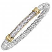 Vahan Sterling Silver and 14K Yellow Gold Pave Diamond Bar Bracelet (6mm)