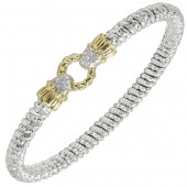 Vahan Sterling Silver and 14K Yellow Gold Circle Clasp Diamond Bangle Bracelet (4mm)