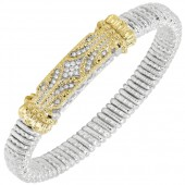 Vahan Sterling Silver And 14K Yellow Gold Diamond Bar Bracelet (8mm)