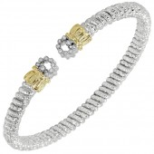 Vahan Sterling Silver and 14K Yellow Gold Diamond Circle End Cuff Bracelet (4mm)