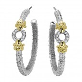 Vahan Sterling Silver and 14K Yellow Gold Diamond Circle Detail Hoop Earrings