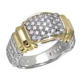 Vahan Sterling Silver and 14K Yellow Gold Pave Ring
