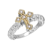 Vahan Sterling Silver and 14K Yellow Gold Cross Ring