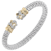 Vahan Sterling Silver and 14K Yellow Gold PavC) Ring Diamond Cuff Bracelet (6mm)