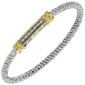 Vahan Sterling Silver and 14K Yellow Gold Diamond Bar Bracelet (3mm)