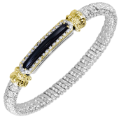 Vahan Sterling Silver and 14K Yellow Gold Onyx and Diamond Bangle Bracelet (6mm)