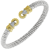 Vahan Sterling Silver And 14K Yellow Gold Circle End Cuff Diamond Bracelet (4mm)