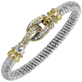 Vahan Sterling Silver and 14K Yellow Gold Diamond Buckle Bangle Bracelet (6mm)