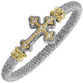 Alwand Vahan Sterling Silver And 14K Yellow Sideways Cross Diamond Bracelet (6mm)