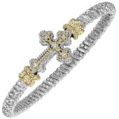 Vahan Sterling Silver and 14K Yellow Gold Diamond Sideways Cross Bracelet (4mm)