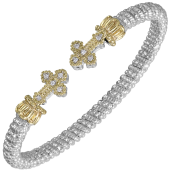 Vahan Sterling Silver and 14K Yellow Gold Cross End Diamond Cuff Bracelet (4mm)