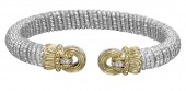 Vahan Sterling Silver and 14K Yellow Gold Circular End Cuff Bracelet (8mm)