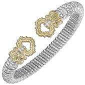 Vahan Sterling Silver and 14K Yellow Gold Open End Diamond Cuff Bracelet (8mm)
