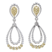 Vahan Sterling Silver and 14K Yellow Gold Double Tear Drop Beaded Dangle Earrings