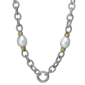 Vahan Sterling Silver and 14K Yellow Cultured Pearl Circle Chain Necklace