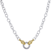 Vahan Sterling Silver and 14K Yellow Gold Diamond Circle Chain