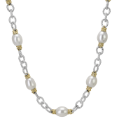 Vahan Sterling Silver and 14K Yellow Gold Pearl Station Necklace