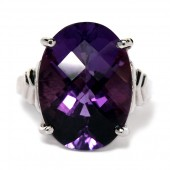 14KW Amethyst Ring Gold Chains