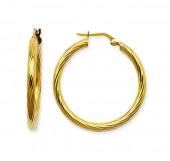 14K Yellow Gold Fluted Hoop Earrings