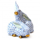Blue Ceramic Rabbits