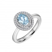 Genuine Blue Topaz Double Halo Ring