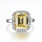 Emerald-Cut Halo Engagement Ring