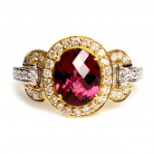 18K Yellow and White Gold Rhodolite Garnet And Diamond Ring