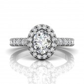 Martin Flyer 14K White Gold Oval Diamond Halo Engagement Ring