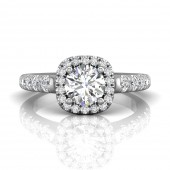 Martin Flyer 18K White Gold 1.00 CT Forevermark Round 0.70 CTW Diamond Ring