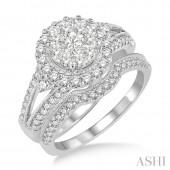 14K White Gold 1.20CTW Diamond Lovebright Wedding Set