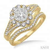 14K Yellow Gold 0.80CTW Diamond Lovebright Wedding Set