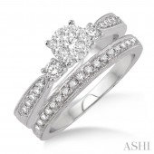 14K White Gold 0.50CTW Diamond Lovebright Wedding Set