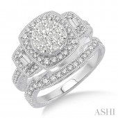 14K White Gold 0.95 CTW Diamond Lovebright Wedding Set