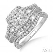14K White Gold 0.90 CTW Diamond Lovebright Wedding Set