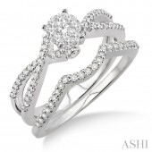 14K White Gold 0.50 CTW Diamond Lovebright Wedding Set