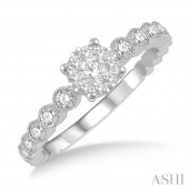 14K White Gold 0.35 CTW Diamond Lovebright Ring