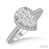 14K White Gold 0.50CTW Diamond Pear Shape Lovebright Ring