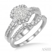 14K White Gold 1.15 CTW Diamond Lovebright Wedding Set