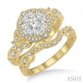 14K Yellow Gold 0.75CTW Diamond Wedding Set