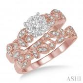 14K Rose Gold 0.55 CTW Diamond Wedding Set
