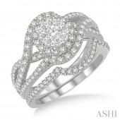 14K White Gold 1.25 CTW Diamond Lovebright Wedding Set
