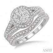 14K White Gold 0.85 CTW Diamond Lovebright Wedding Set