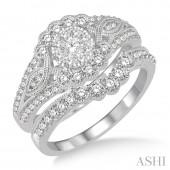 14K White Gold 1.10 CTW Diamond Lovebright Wedding Set